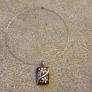 Lia Sophia rectangular flower charm necklace.